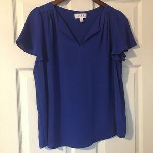Elle pull over royal blue blouse Size M